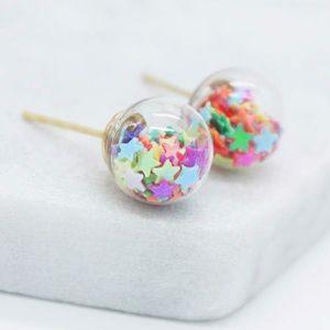 Jewelry - 🌈Rainbow star filled globe earrings🌈
